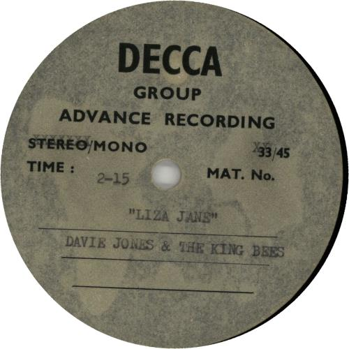 Davie+Jones++The+Kingbees+Liza+Jane+-+Acetate+651454
