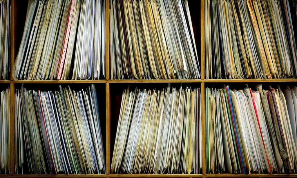 There is never a shortage of music to play in a record store.' … shelves with vinyl records. Photograph: age fotostock/Alamy