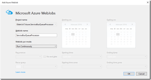 Publish Azure WebJobs