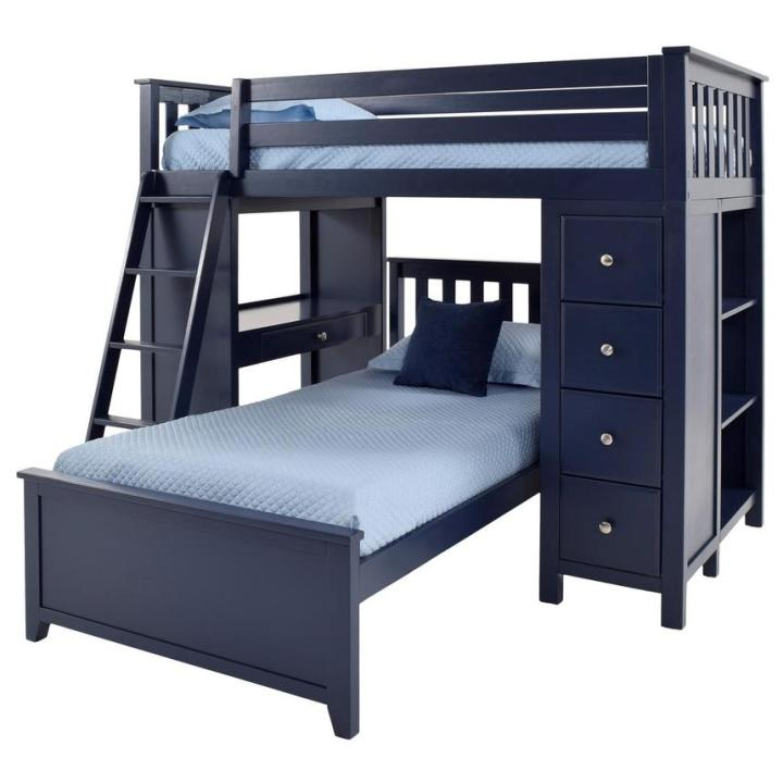 Haus Blue Twin Over Twin Bunk Bed w/Desk & Chest  main image, 1 of 2 images.