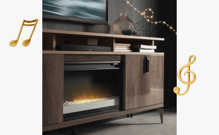 Soundbar and brown fireplace in lifestyle setting