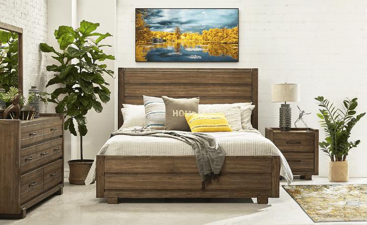 Brown bedroom set in lifestyle setting by El Dorado Furniture