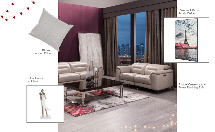 Cream sofa, multicolor wall art, multicolor area rug, white accent pillow, and sculpture in collage setting by El Dorado Furniture