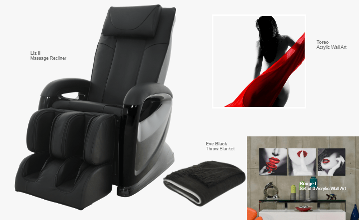 Black massage recliner, black throw blanket, and multicolor wall art in collage setting by El Dorado Furniture