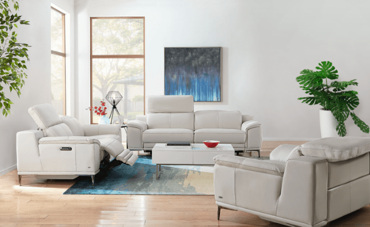 Light gray leather sofa collection with a blue rug, green plant, and blue wall art in a lifestyle setting by El Dorado Furniture