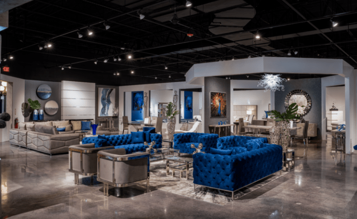Blue and Gray living room set in a showroom setting by El Dorado Furniture.