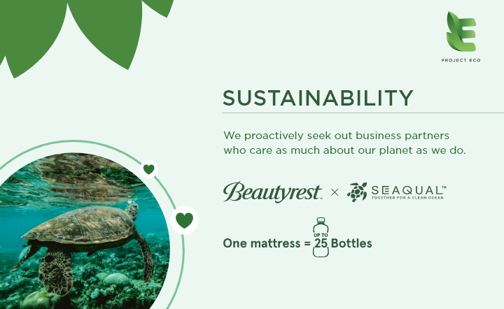 Earth Day graphic with turtle in ocean with Beautyrest and Seaqual logos
