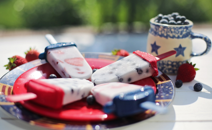 Close-up of red, white, and blue popsicles