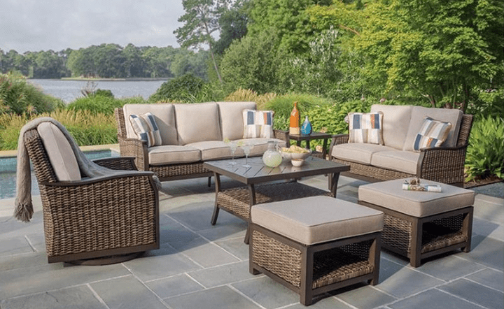 Brown outdoor living set in backyard lifestyle setting