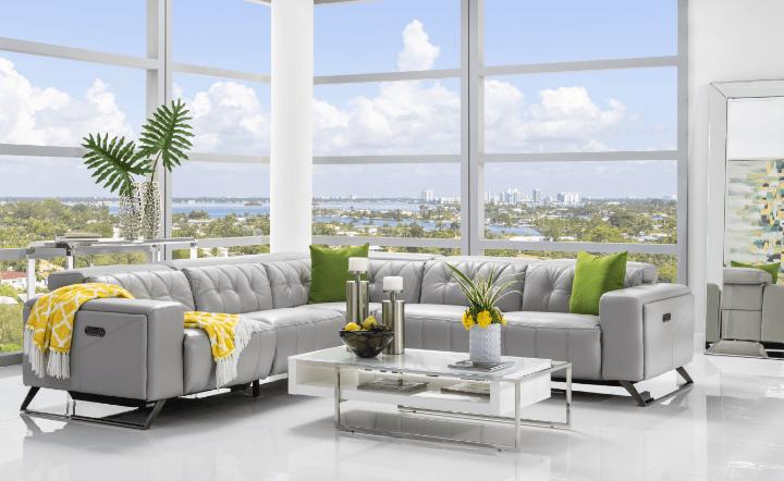 Bright room with grey leather sofa and coffee table el dorado furniture