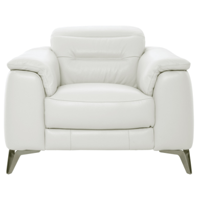The Anabel White Leather Chair has foam padding in the arms, seat, and back, and covered in 100% leather everywhere the body touches, this leather accent chair will ensure you're comfortable as soon as you sit down. Plus, the headrest is adjustable for your convenience.