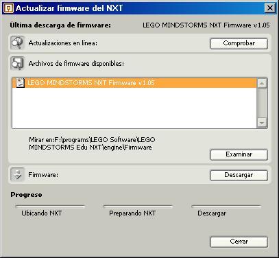 Ventana de actualización del firmware del NXT en NXT-G