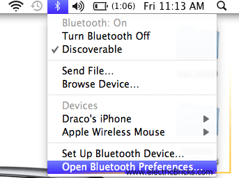 Conectar NXT por Bluetooth a MAC: Bluetooth Preferences