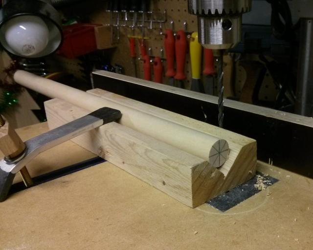 Drilling eight holes in a dowel