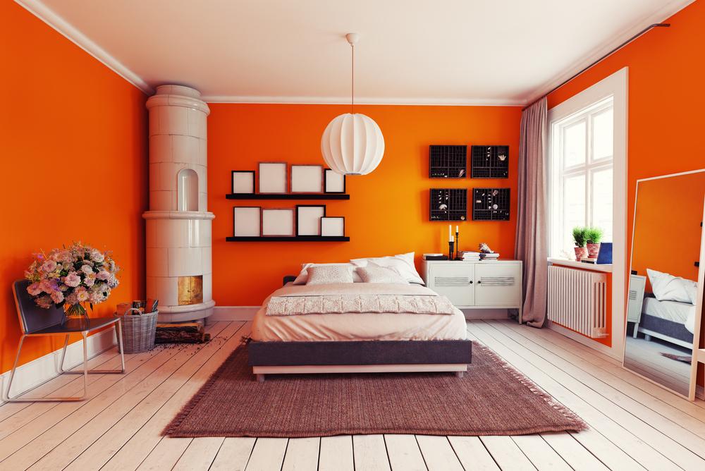 idei de design pentru un dormitor portocaliu