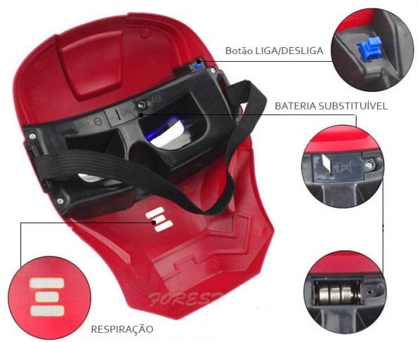 Máscaras de LED detalhes homem de ferro