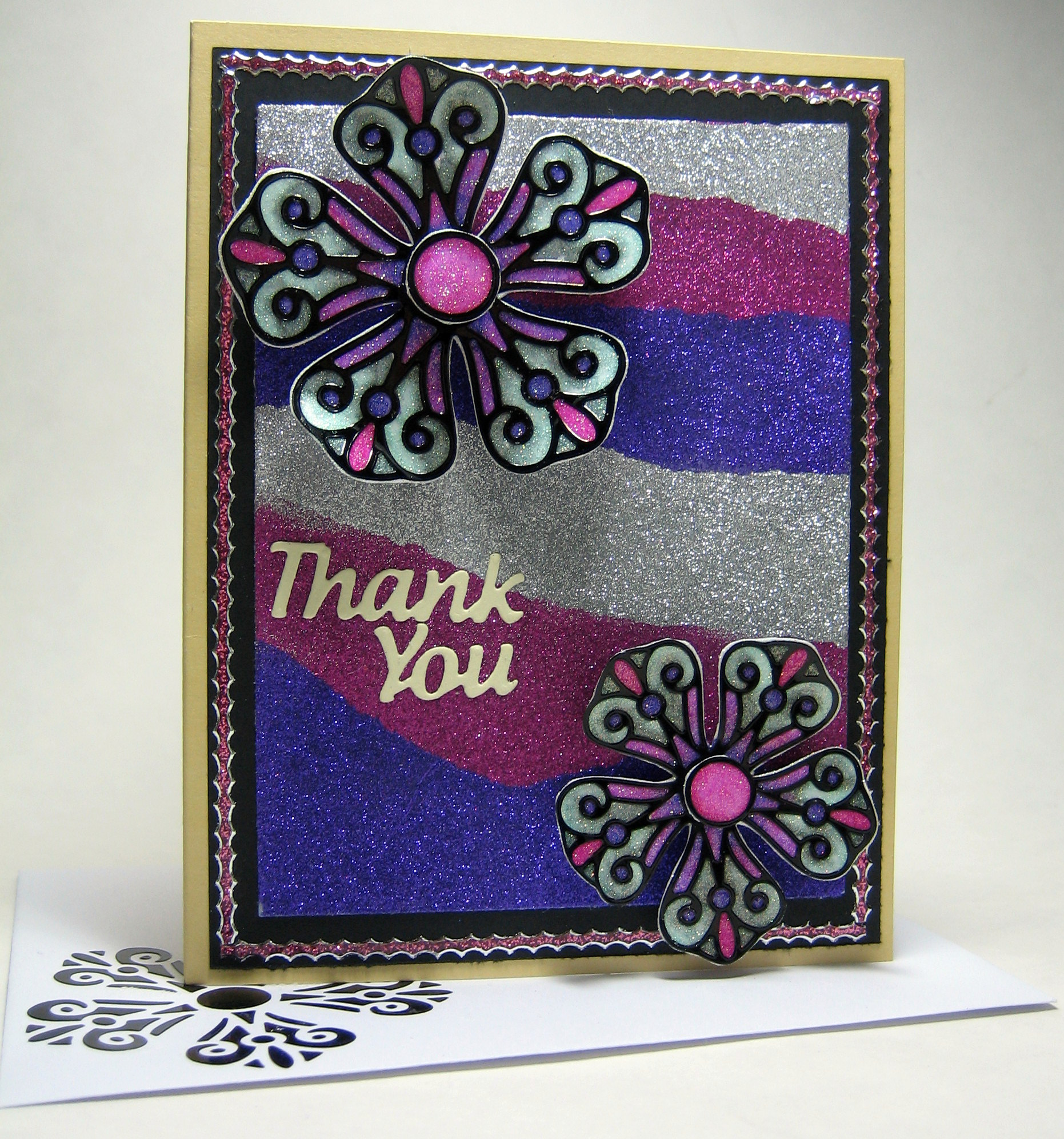 Glittered Thank You Card Elizabeth Craft Designs