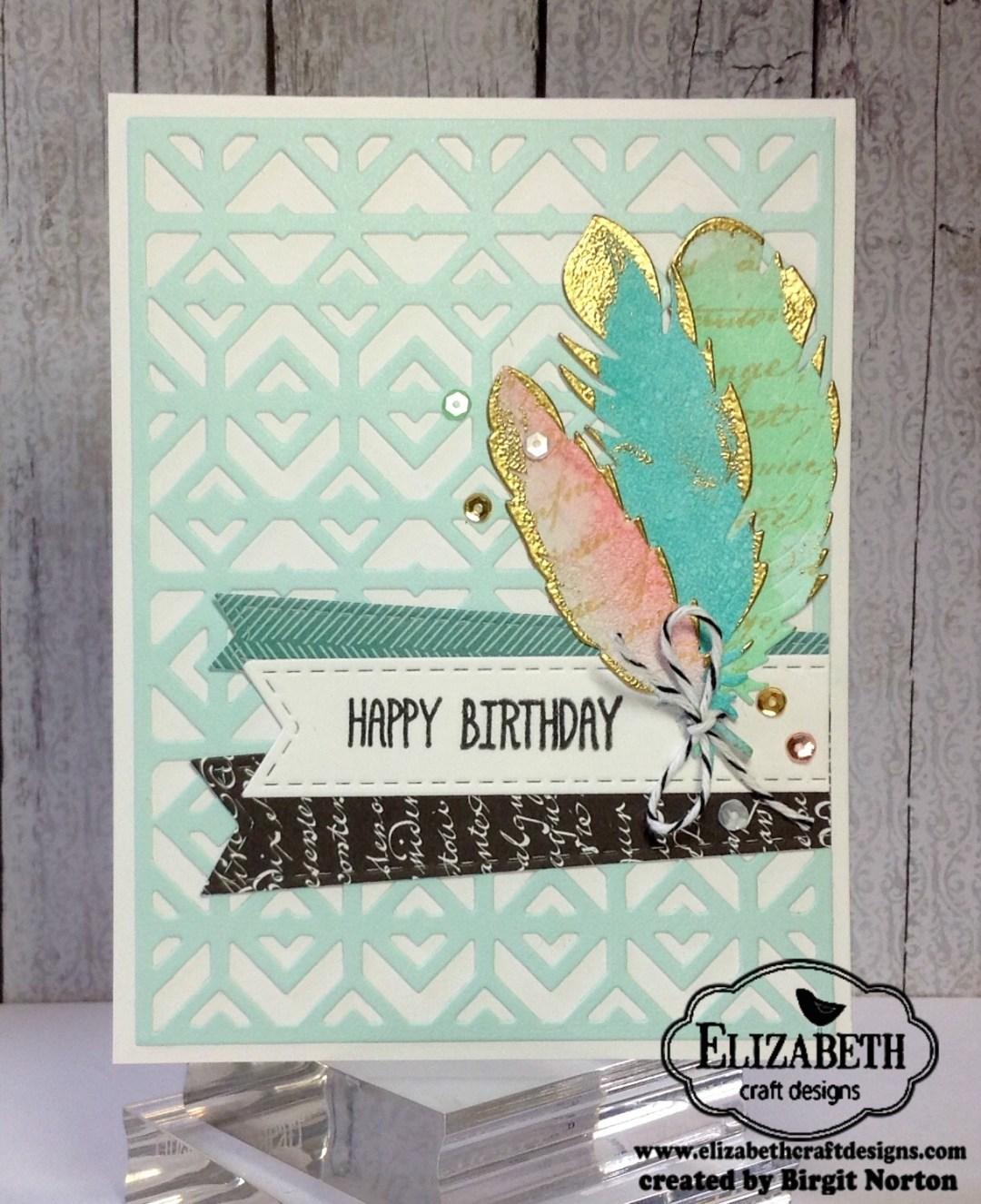 Feather Finery ~ Masculine / Feminine Birthday Cards by Birgit