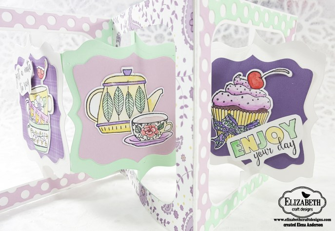 Fancy Tea Time Accordion Card - Open