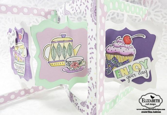 Fancy Tea Time Accordion Card - Open