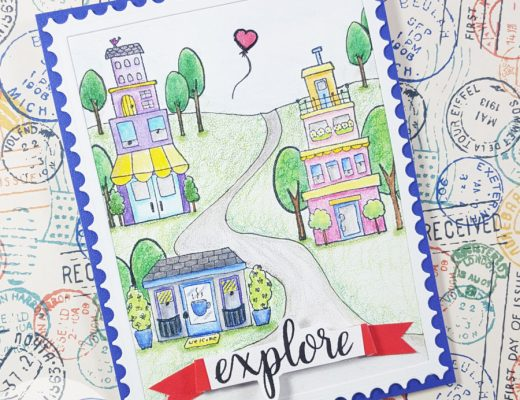 Row Houses Postage Stamp Card