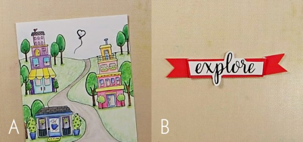 Row Houses Postage Stamp Card - Step 3