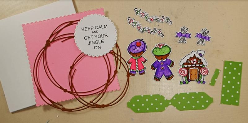 Gingerbread Christmas Wreath Card - Step 2