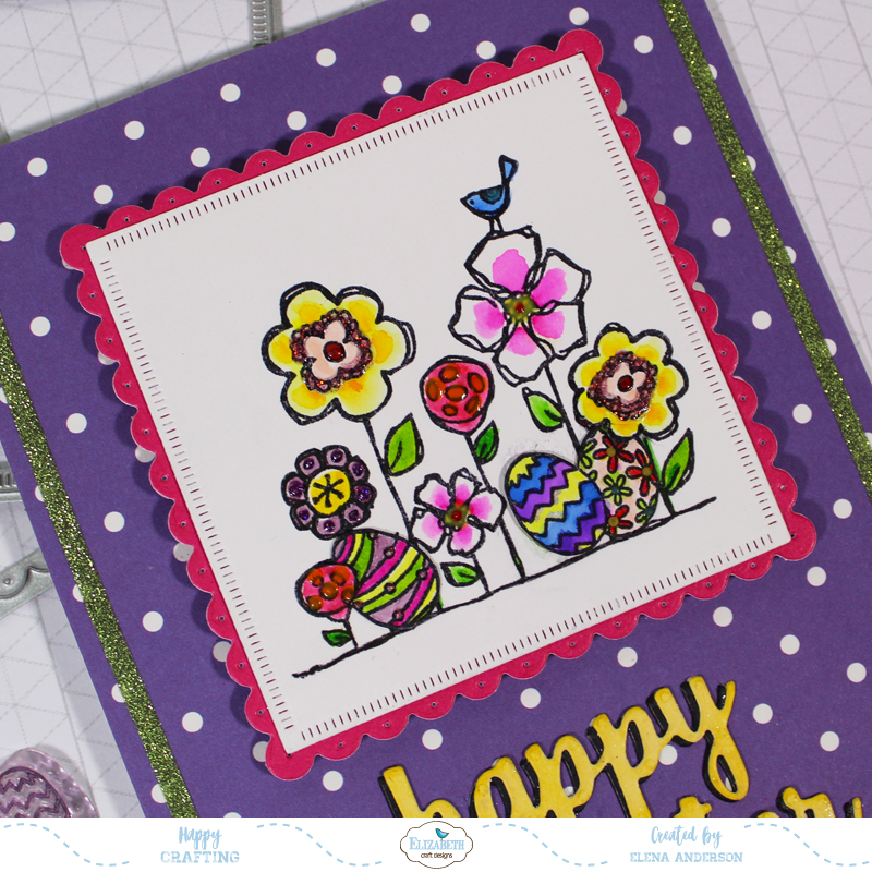 Bright & Colorful Floral Easter Card - Detail