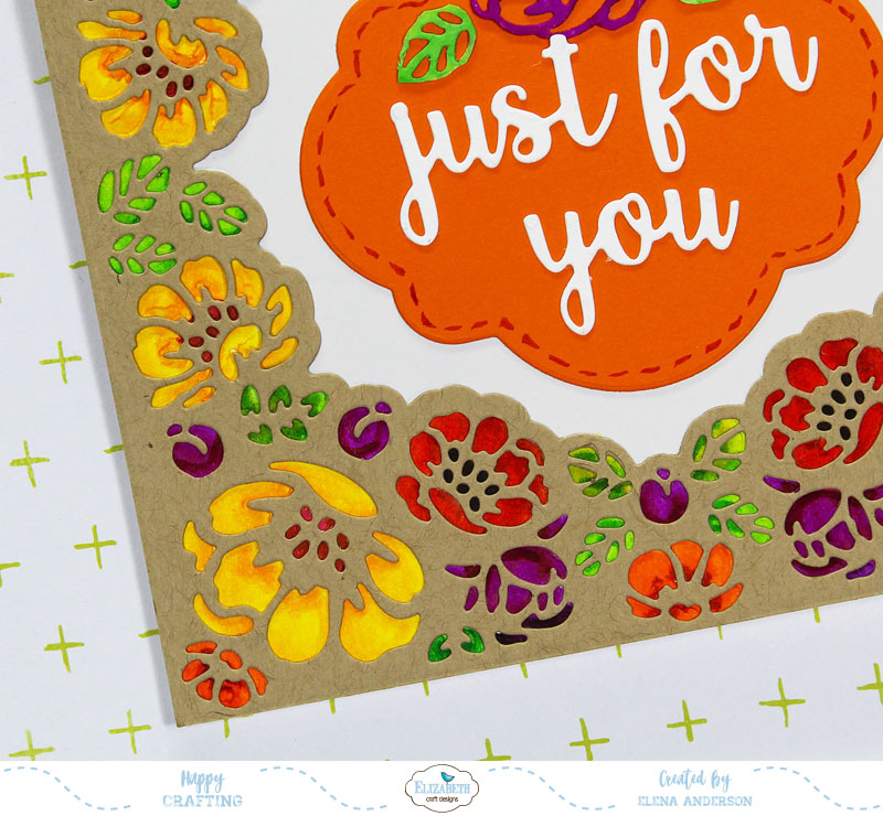 Fall Flower Lace Frame Card - Detail