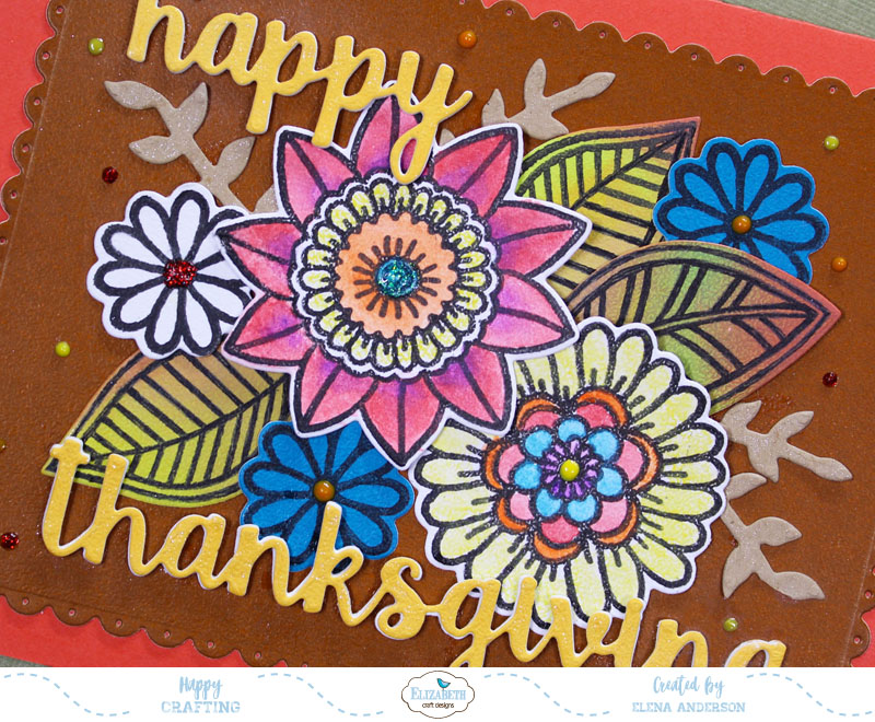 Non-Traditional Floral Thanksgiving Card - Detail