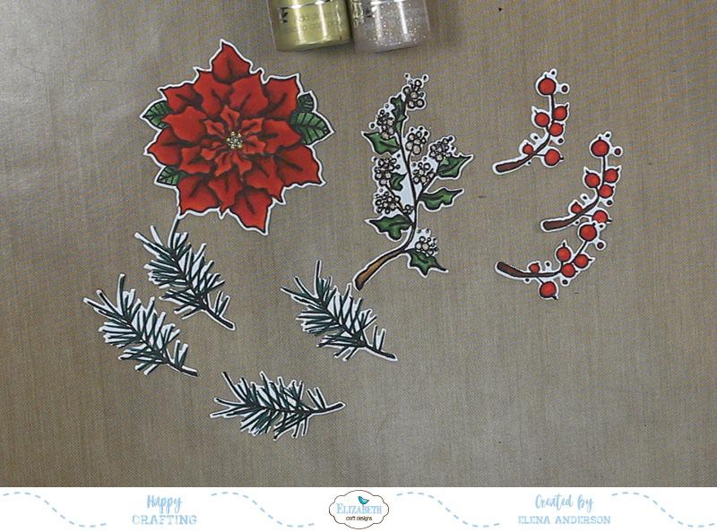 Classic Poinsettia Christmas Card - Step 2