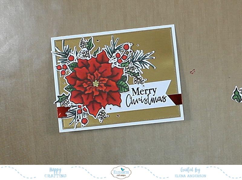 Classic Poinsettia Christmas Card - Step 4
