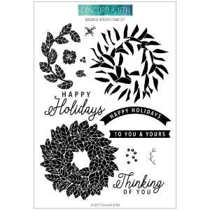 Concord & 9th Clear Stamps, Magnolia Wreath - 090222397989
