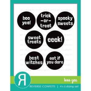 Boo Yea, Reverse Confetti Clear Stamps -