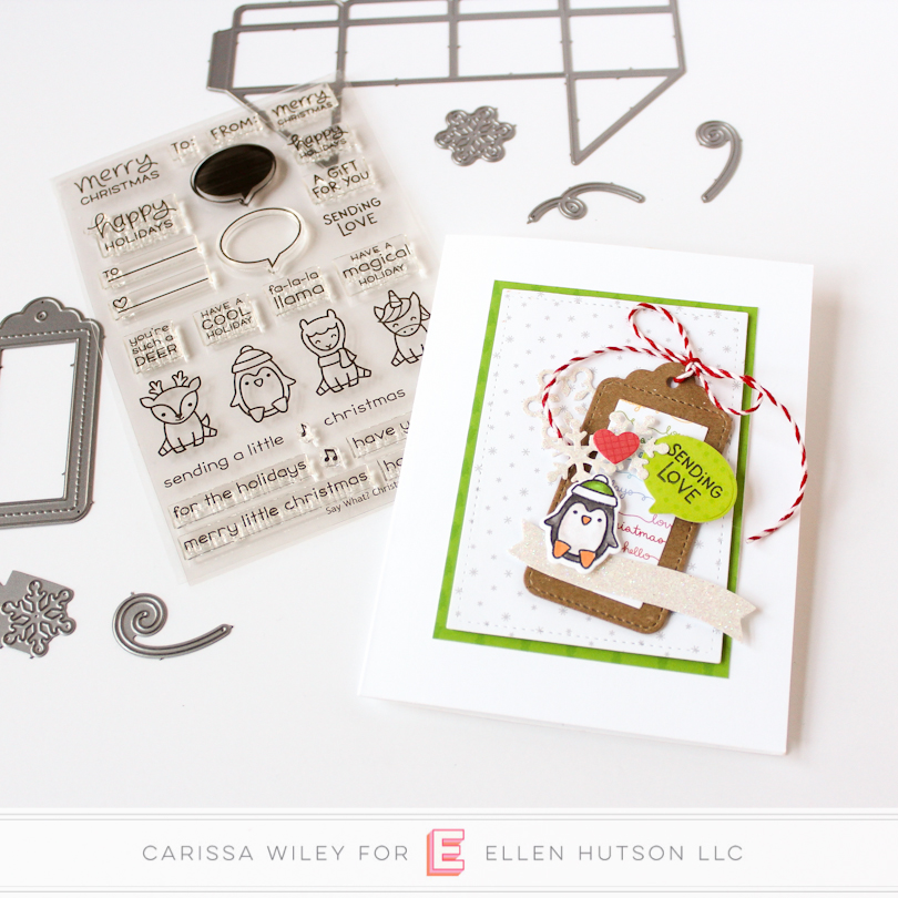 Interactive holiday card featuring Lawn Fawn stamps and dies.