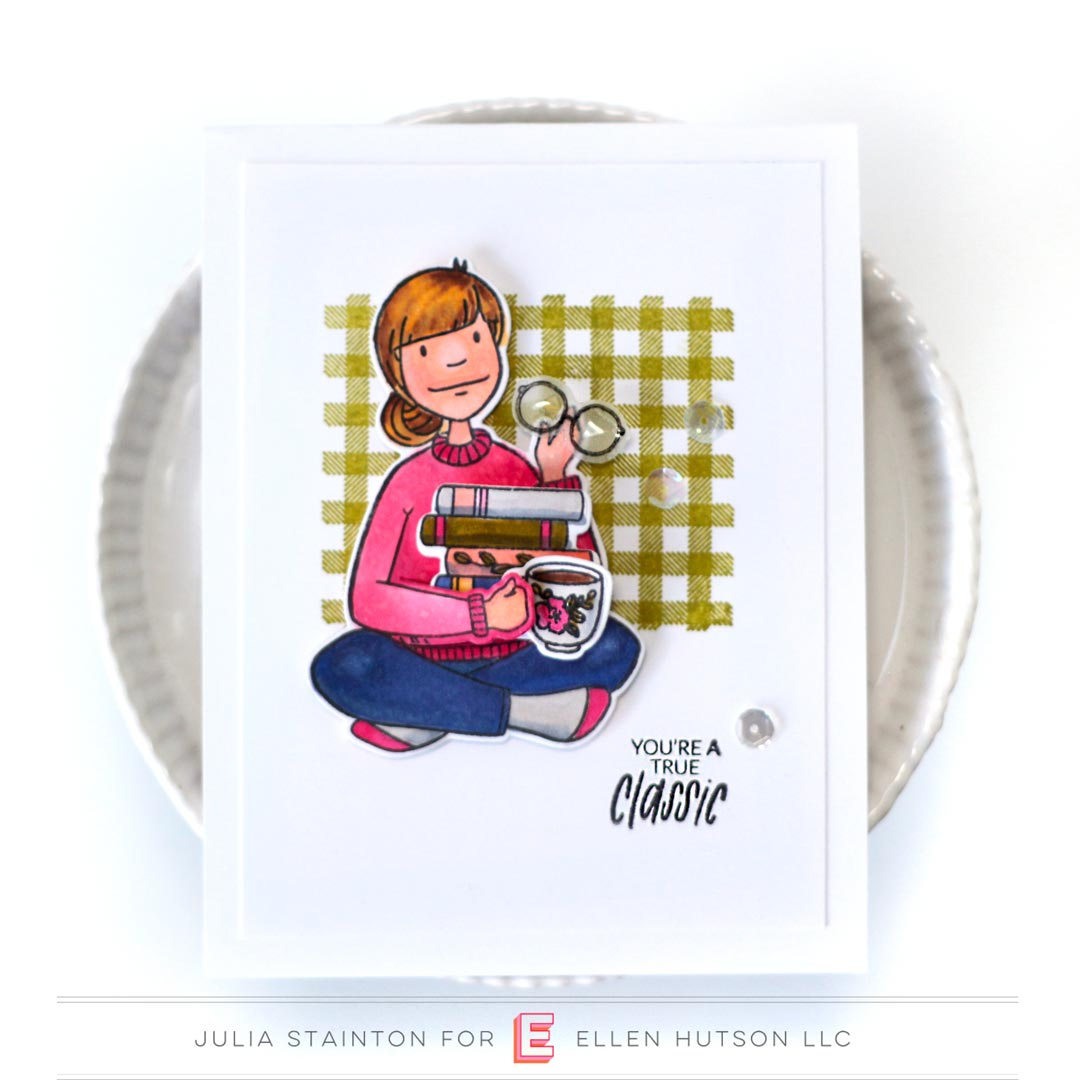 Essentials by Ellen Bookworm Lady card by Julia Stainton