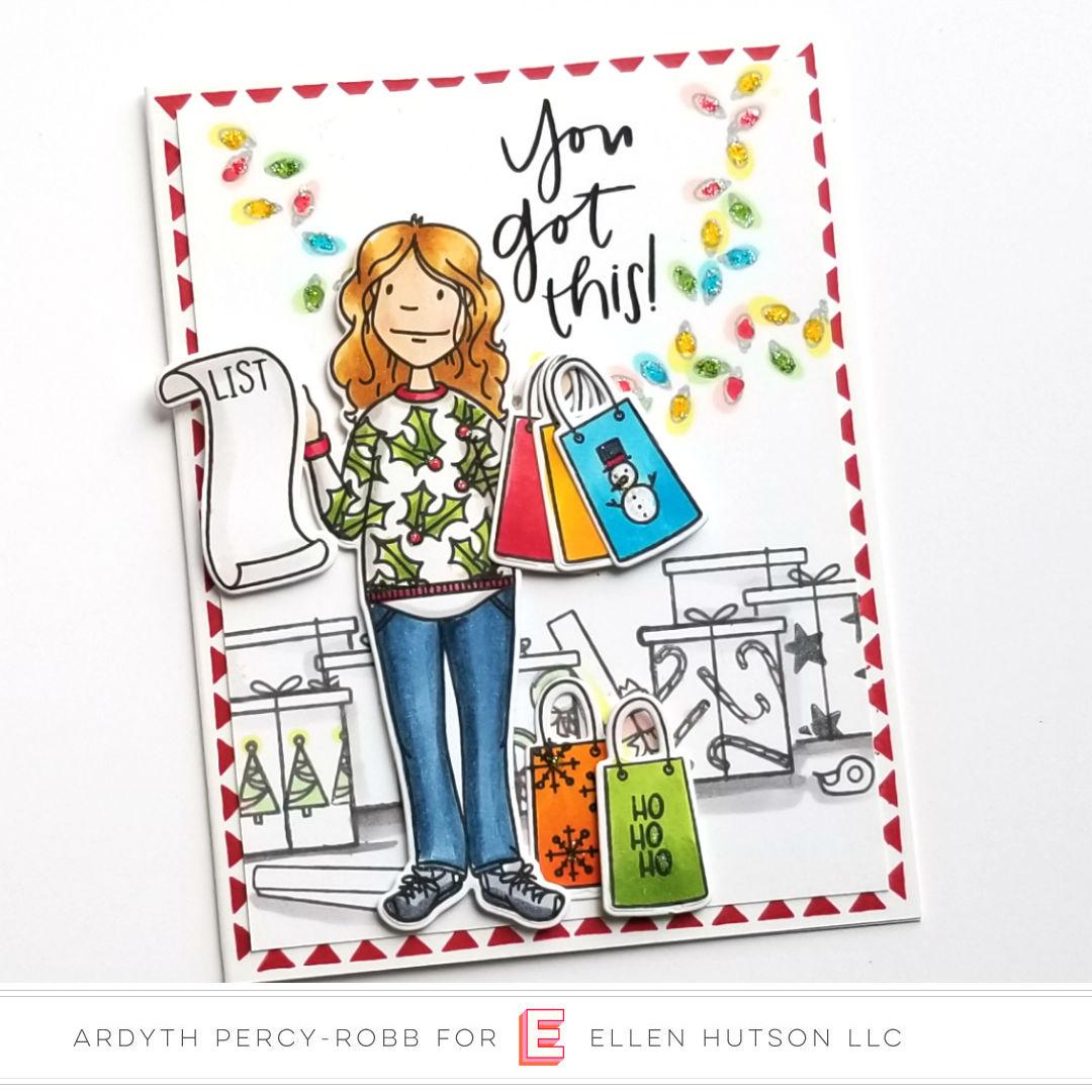 Essentials by Ellen Holiday Shopper Lady Card by Ardyth Percy-Robb