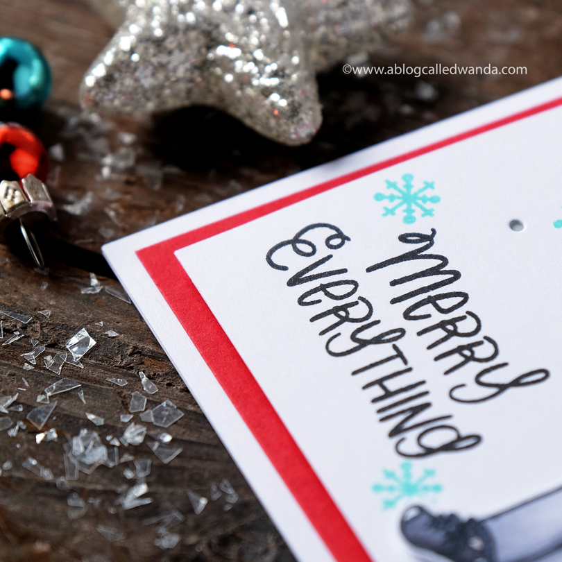 Essentials by Ellen Holiday Shopper Lady card by Wanda Guess close up on sentiment
