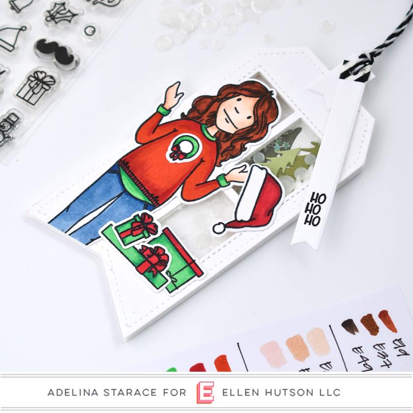 Essentials by Ellen Holiday Shopper Lady shaker tag closeup