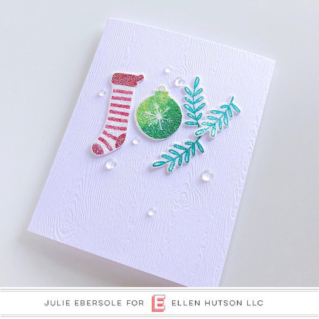 Holiday Word card closeup featuring The Stamp Market by Julie Ebersole