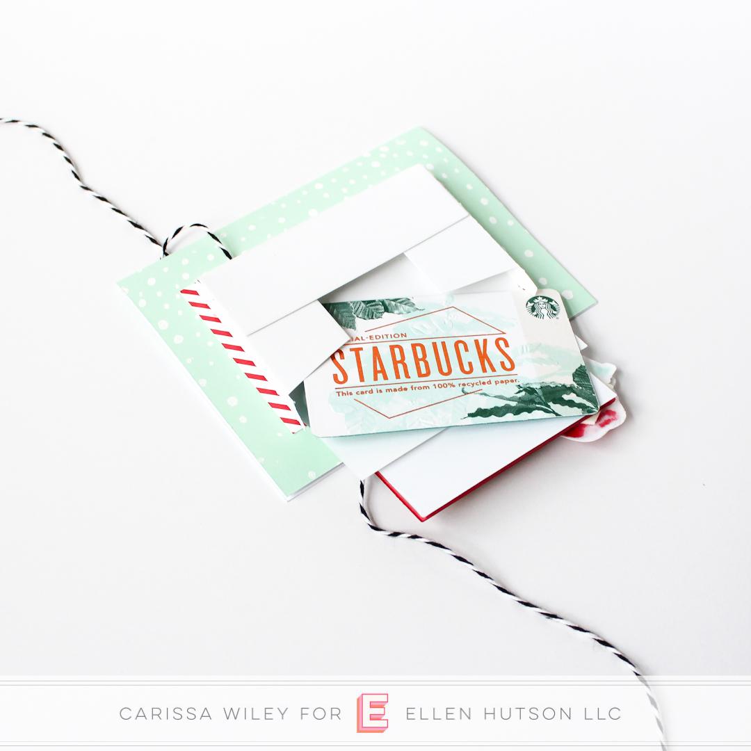 Essentials by Ellen Parcel Box die cut holding Starbucks gift card