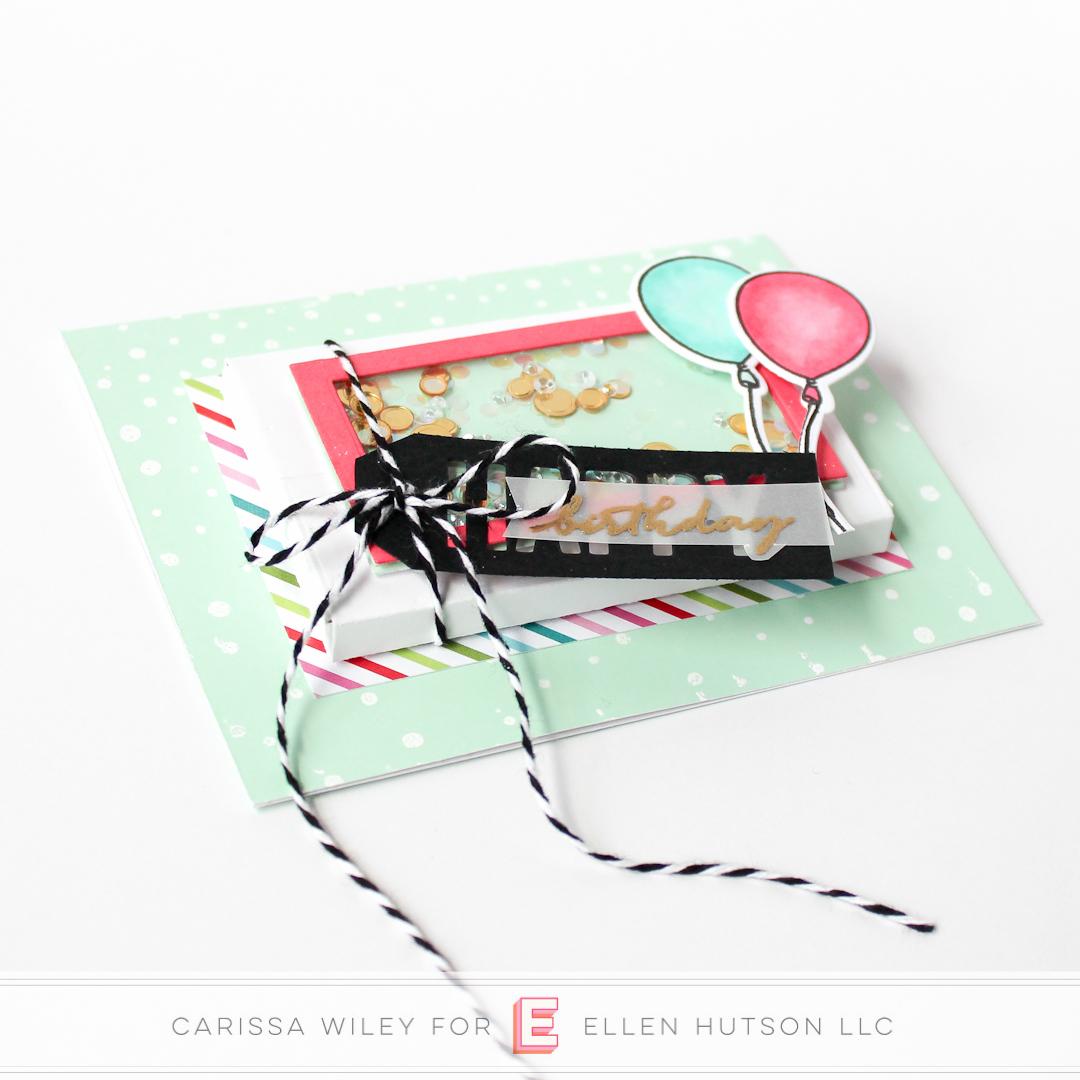 Birthday themed Essentials by Ellen Parcel Box shaker card