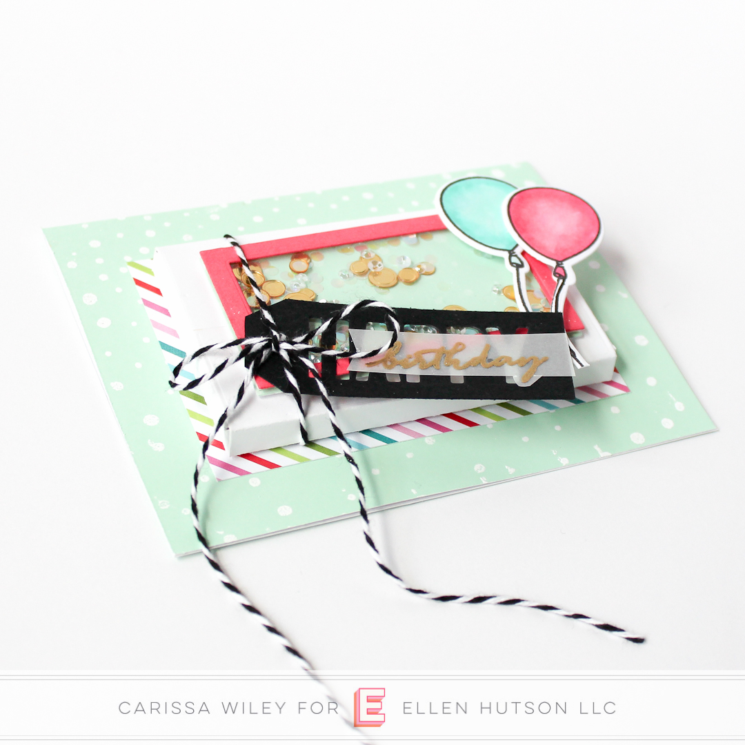 Birthday themed Essentials by Ellen Parcel Box shaker card