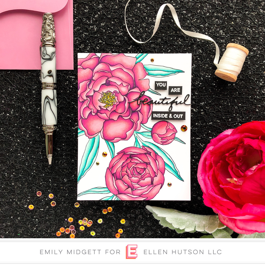 Essentials by Ellen Mondo Peony card by Emily Midgett