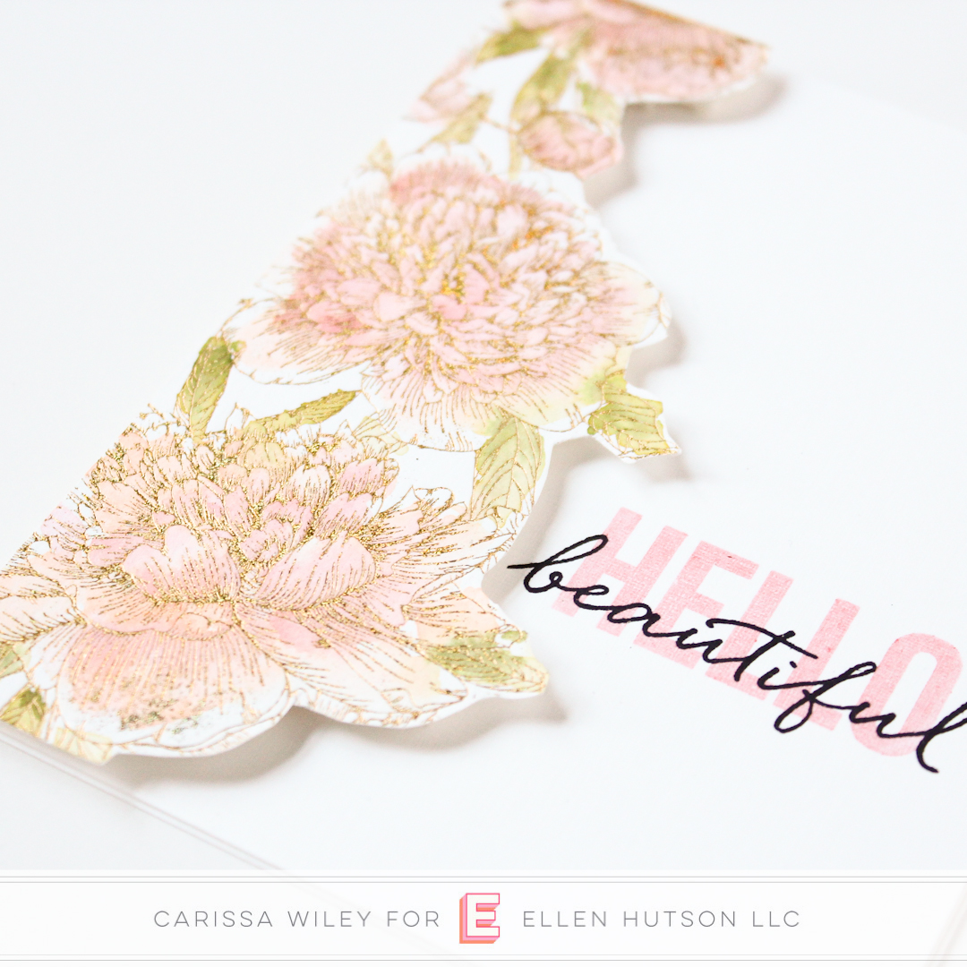 Floral card using the Gemini Foil Press by Carissa Wiley