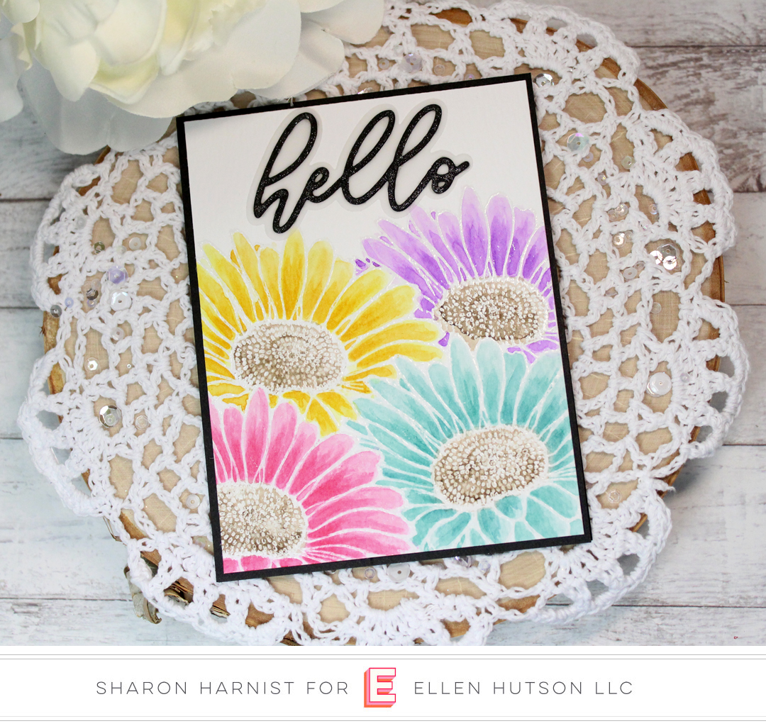 Essentials by Ellen Big Scripty Hello card by Sharon Harnist