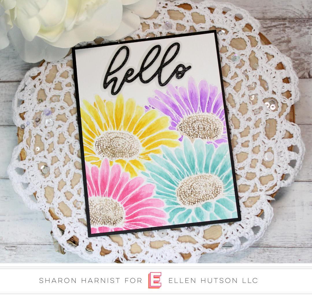 Essentials by Ellen Big Scripty Hello card by Sharon Harnist