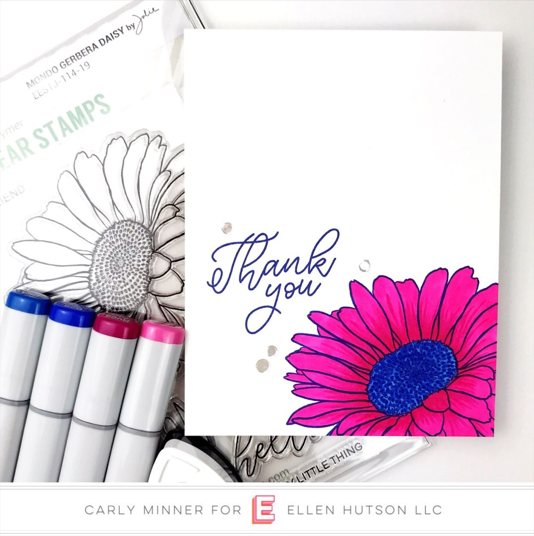 Essentials by Ellen Mondo Gerbera Daisy card by Carly Tee Minner
