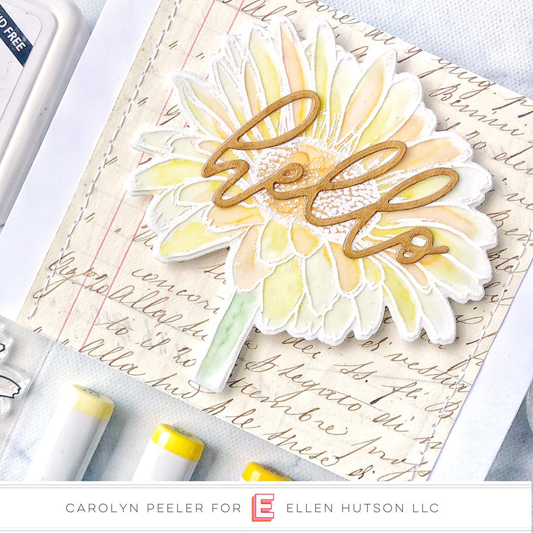 Essentials by Ellen Mondo Gerbera Daisy card by Carolyn Peeler