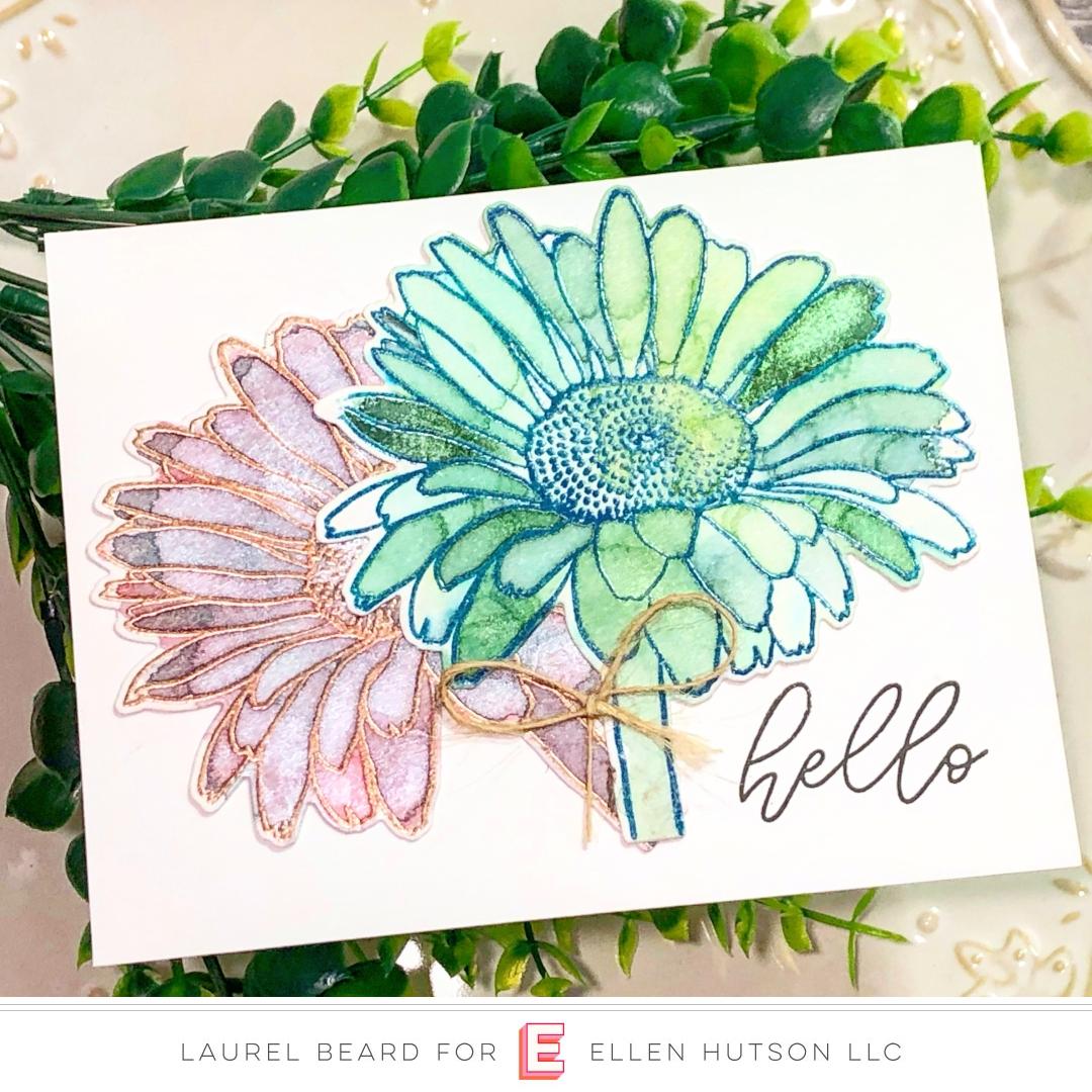 Essentials by Ellen Mondo Gerbera Daisy card by Laurel Beard